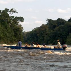 Barca che naviga sul fiume Ivindo